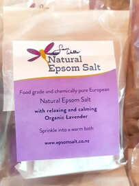 ON SPECIAL. BUY 4 GET 1 FREE    Bath Bags containing Natural Epsom Salt with Organic Herbal Blend